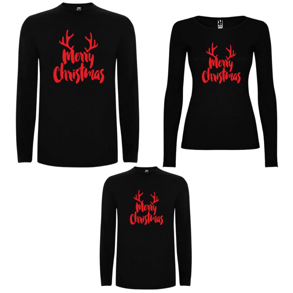 Obiteljski set majica dugih rukava u crnoj ili bijeloj boji Merry Christmas RED Edition