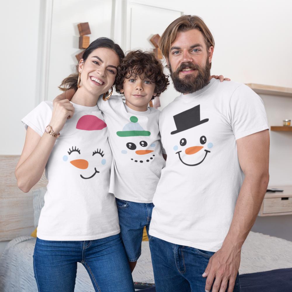 Božićni obiteljski set u bijeloj boji Merry Christmas Happy Family