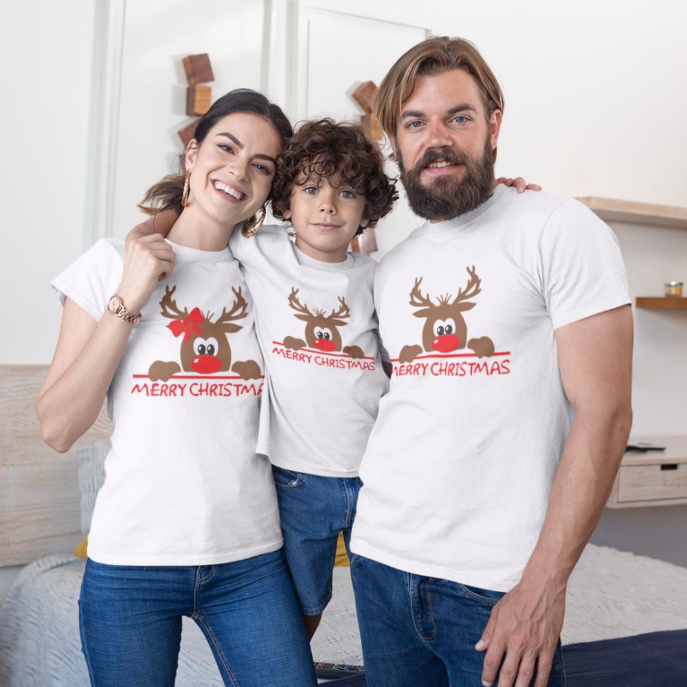 Božićni obiteljski set u bijeloj boji Merry Christmas Hiding Deer