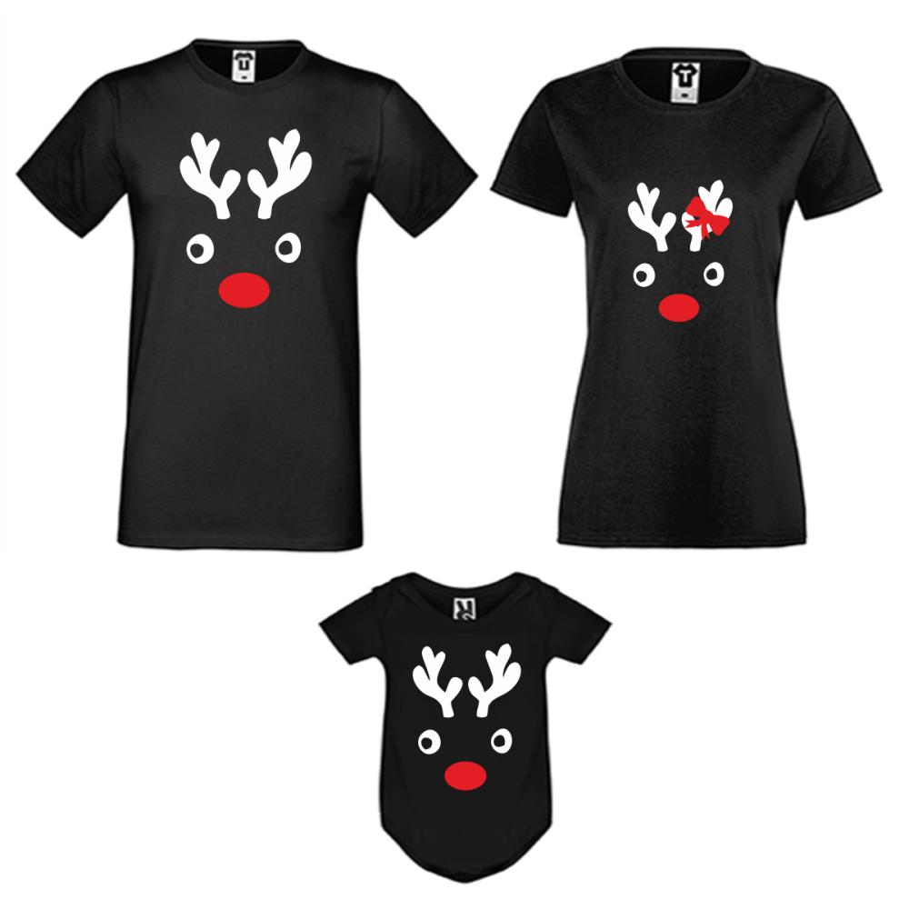 Božićni obiteljski set u crnoj boji Christmas Elk