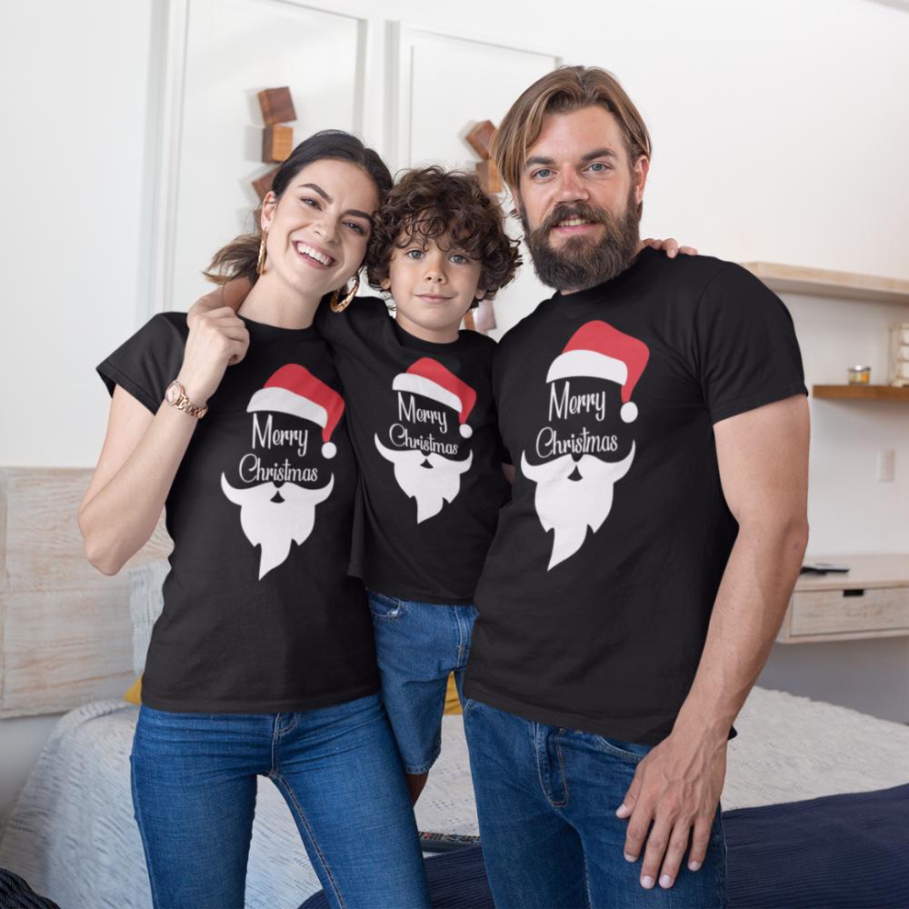 Božićni obiteljski set u crnoj boji Merry Christmas Beard
