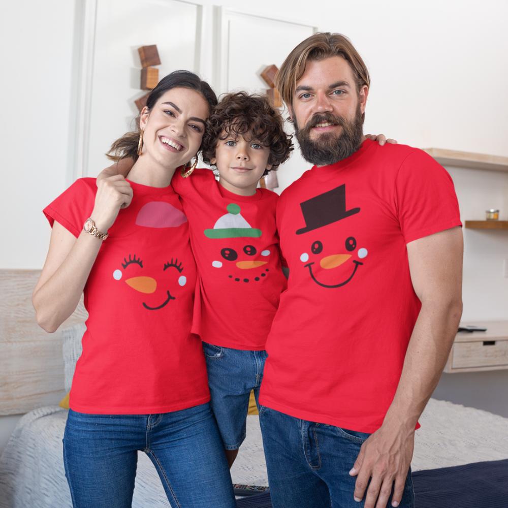 Božićni obiteljski set  u crvenoj boji Merry Christmas Happy Family