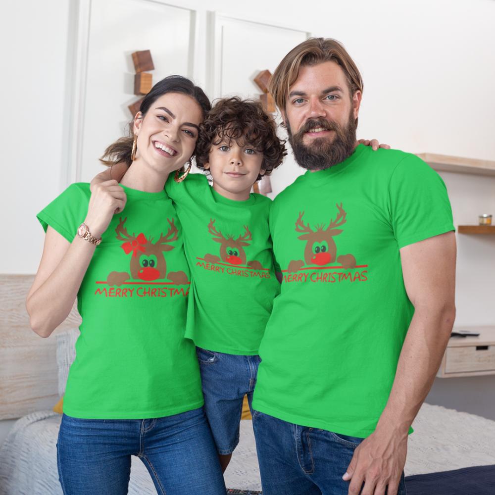 Božićni obiteljski set u zelenoj boji Merry Christmas Hiding Deer