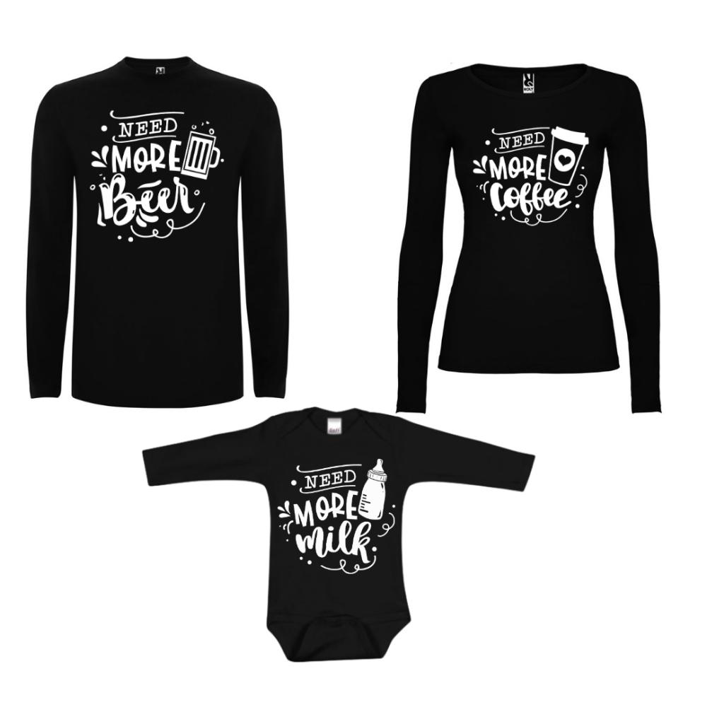 Obiteljske majice dugih rukava u crnoj boji Family Needs