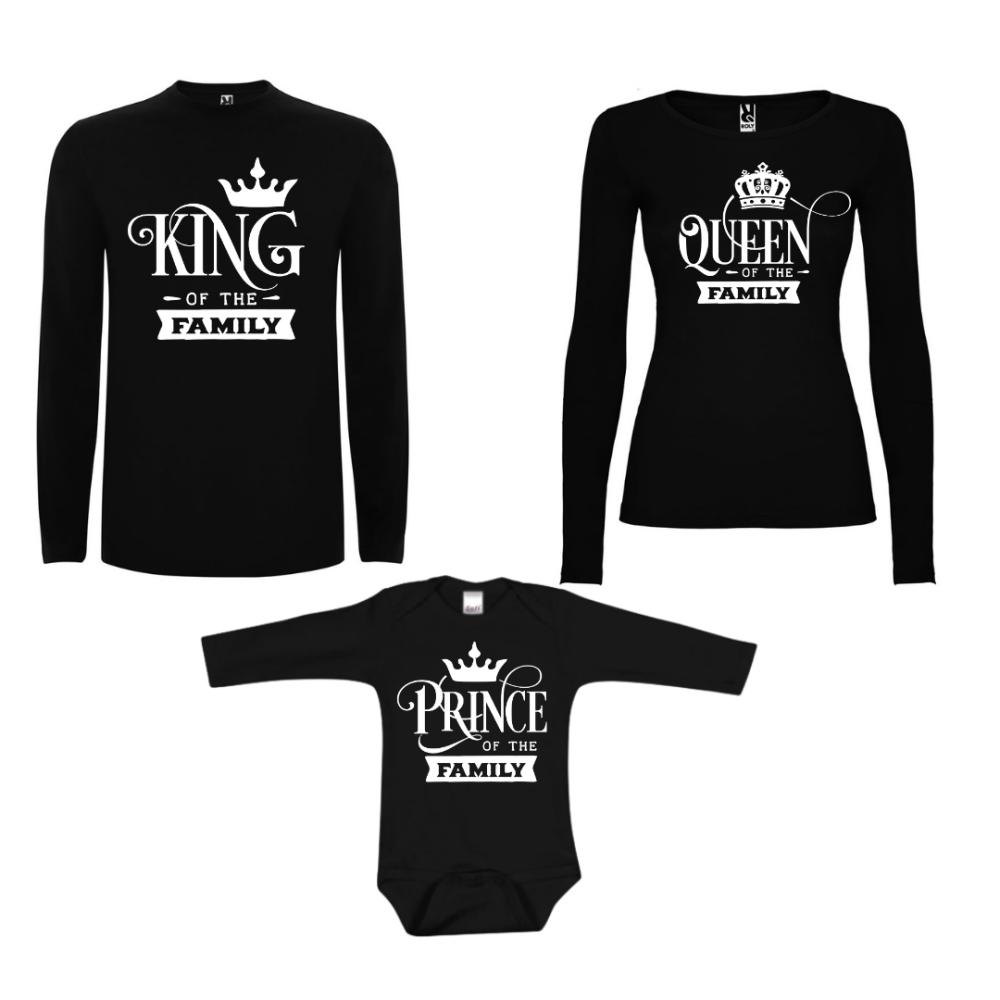 Obiteljske majice dugih rukava u crnoj boji Prince of the Family