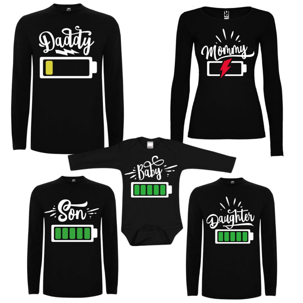 Obiteljske majice dugih rukava u crnoj boji Tired Parents and Full Power Kids