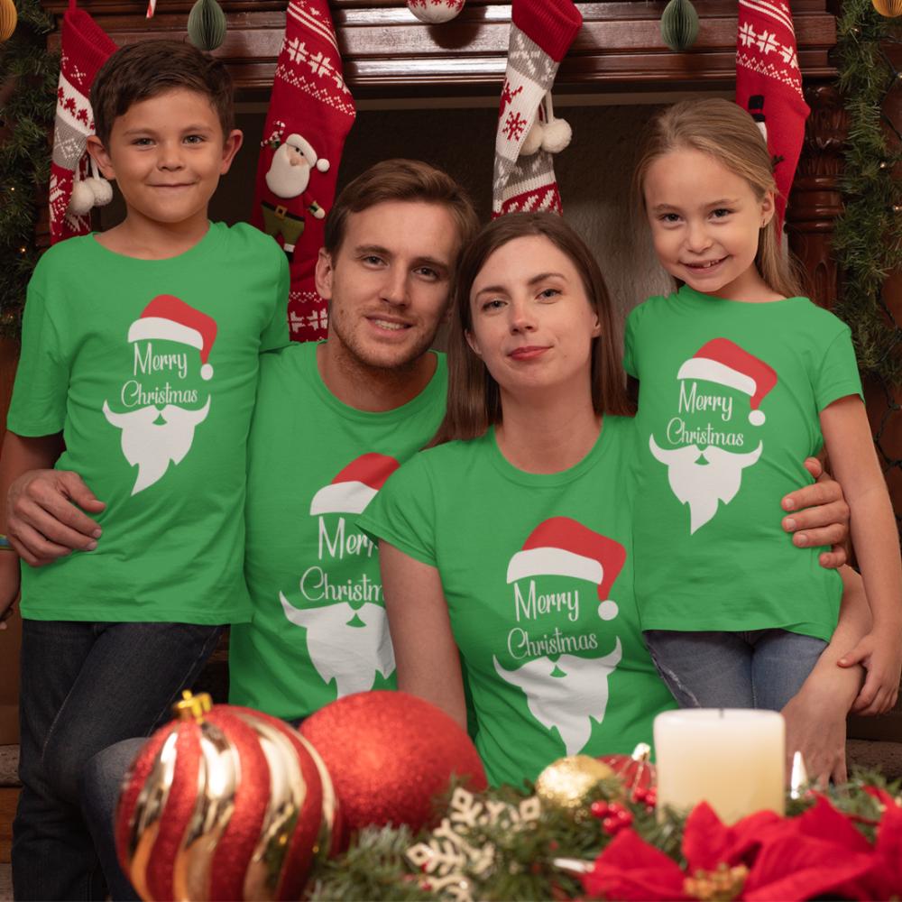 Obiteljski komplet u zelenoj boji Merry Christmas Beard
