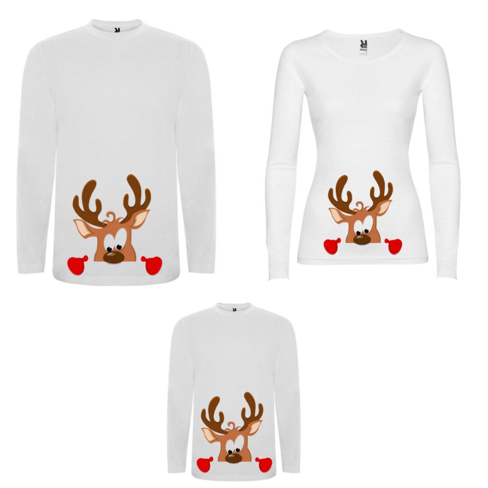 Obiteljski set majica dugih rukava u crnoj ili bijeloj boji Curious Deer Family