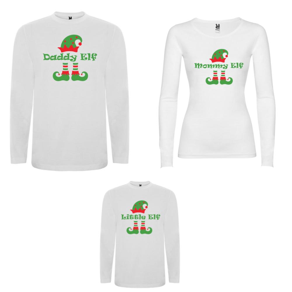 Obiteljski set majica dugih rukava u crnoj ili bijeloj boji ELF Family