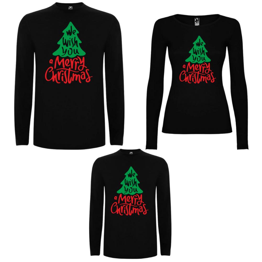 Obiteljski set majica dugih rukava u crnoj ili bijeloj boji We wish you a Merry Christmas