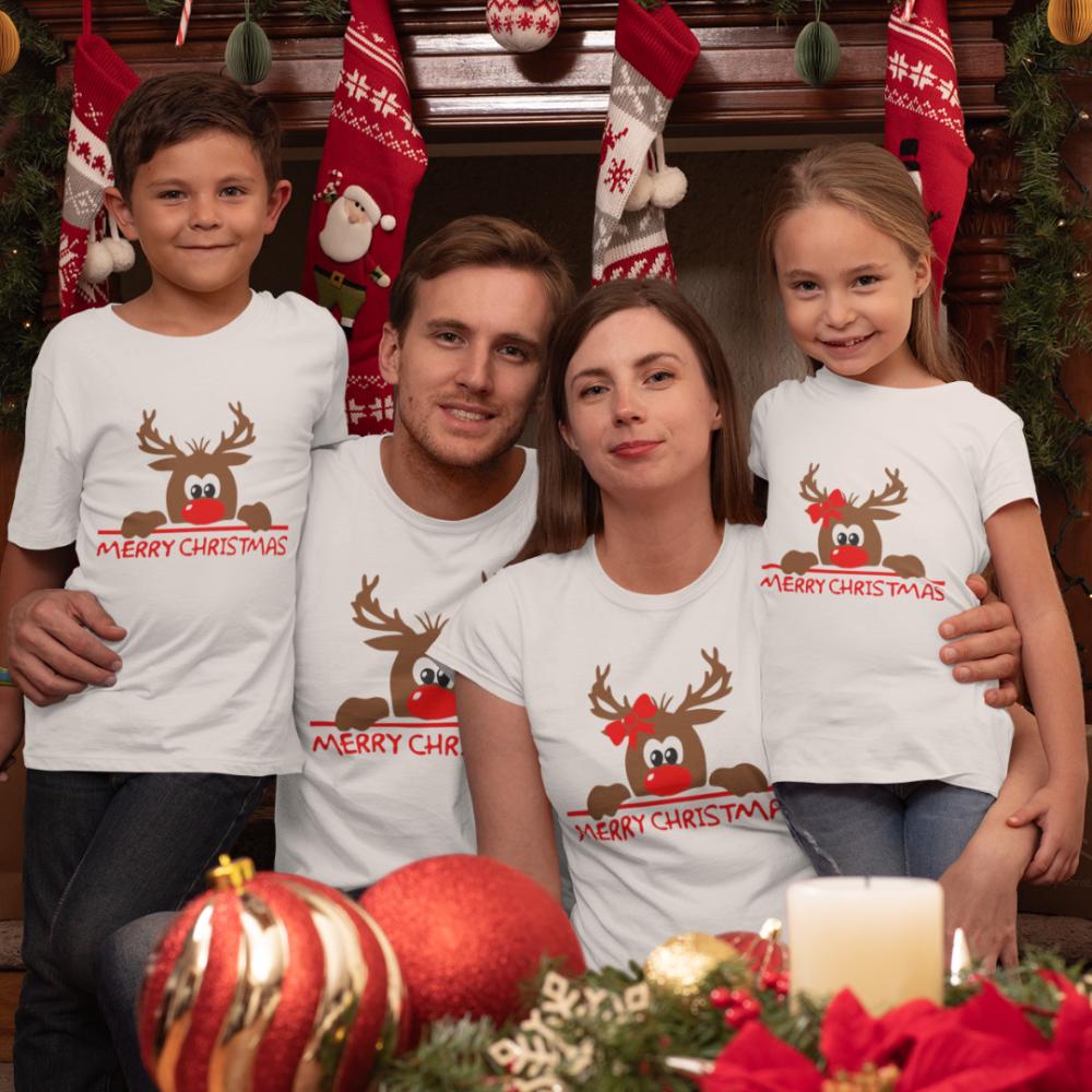 Obiteljski set majica u bijeloj boji Merry Christmas Hiding Deer