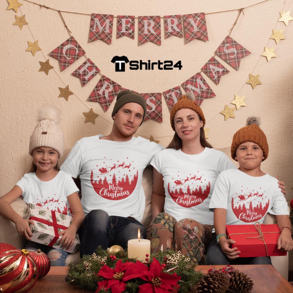 Obiteljski set majica u bijeloj boji Merry Christmas Night Ride