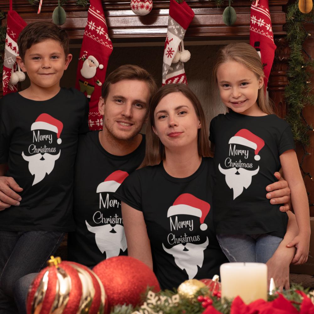 Obiteljski set majica u crnoj boji Merry Christmas Beard