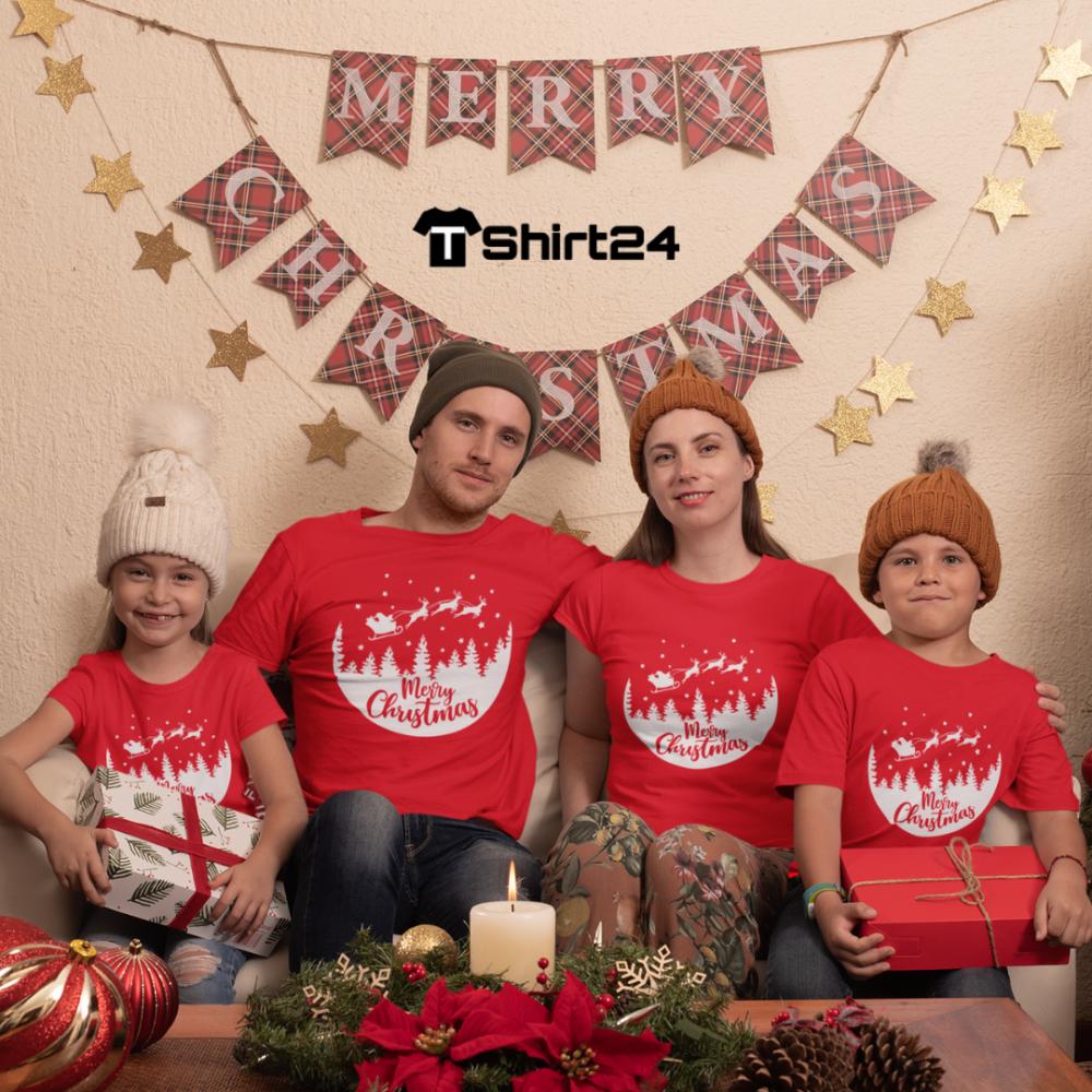 Obiteljski set majica u crvenoj boji Merry Christmas Night Ride