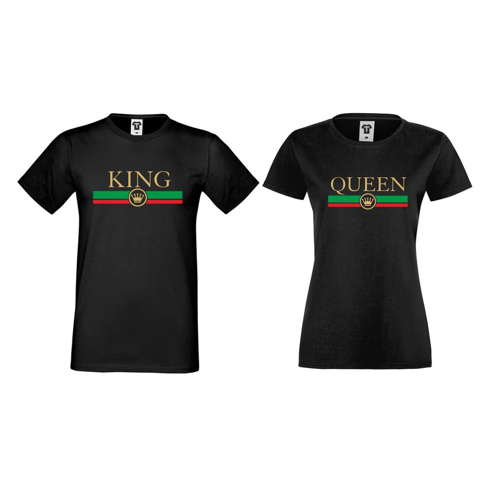 Majice za parove u crnoj boji King - Queen RG