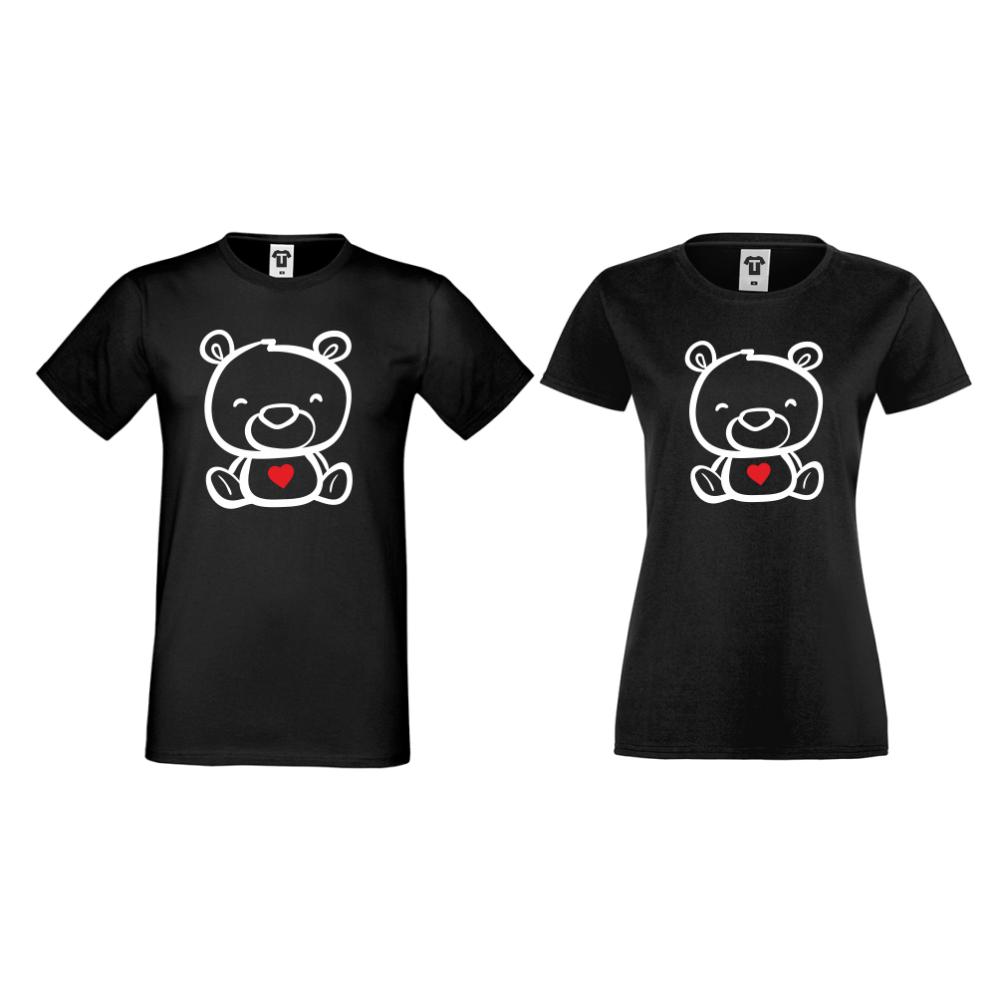Majice za parove u crnoj boji Bears