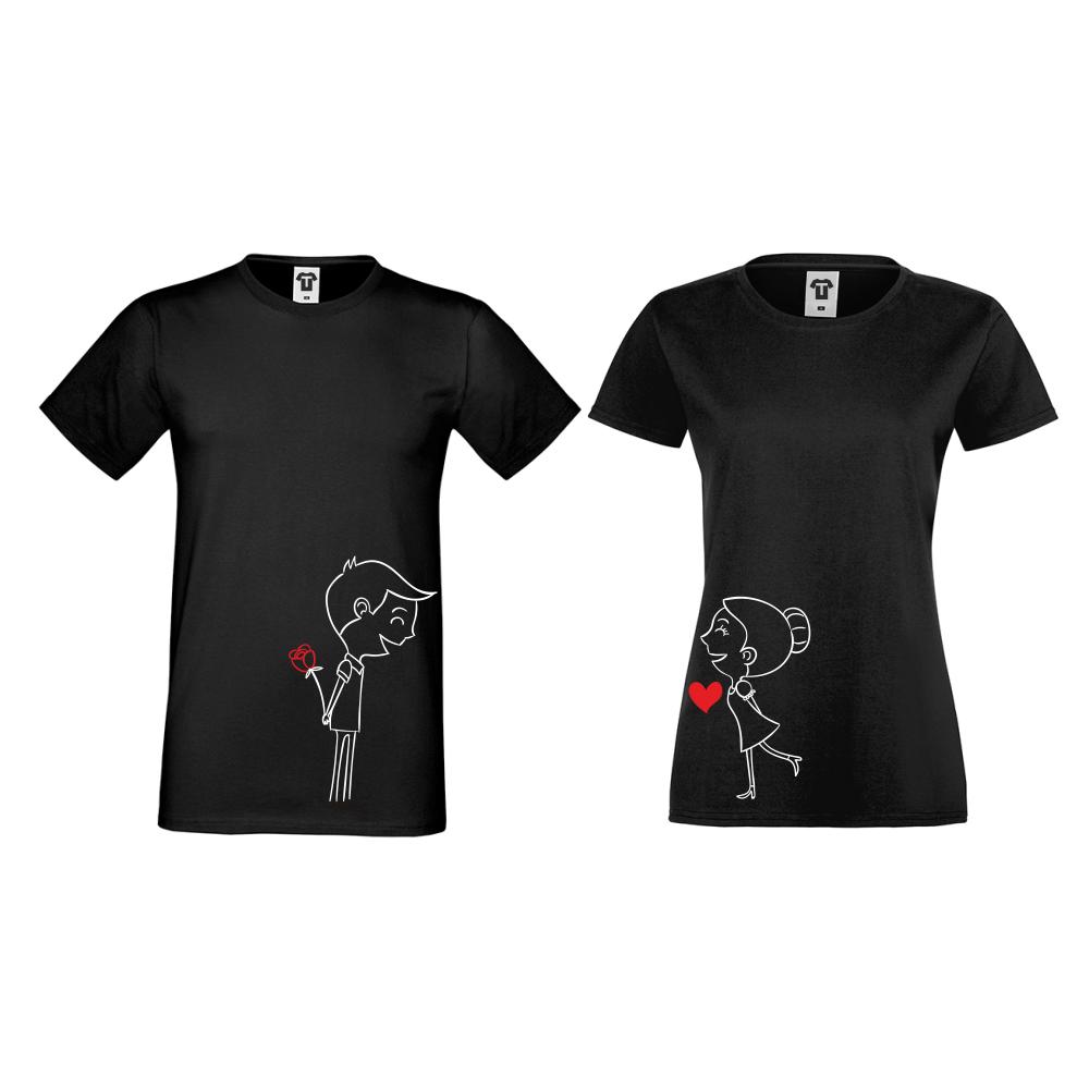 Majice za parove u crnoj boji Boy And Girl