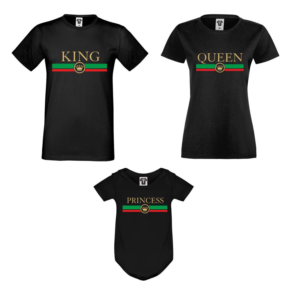 Obiteljski seta majica s bodijem King - Queen - Princess RG