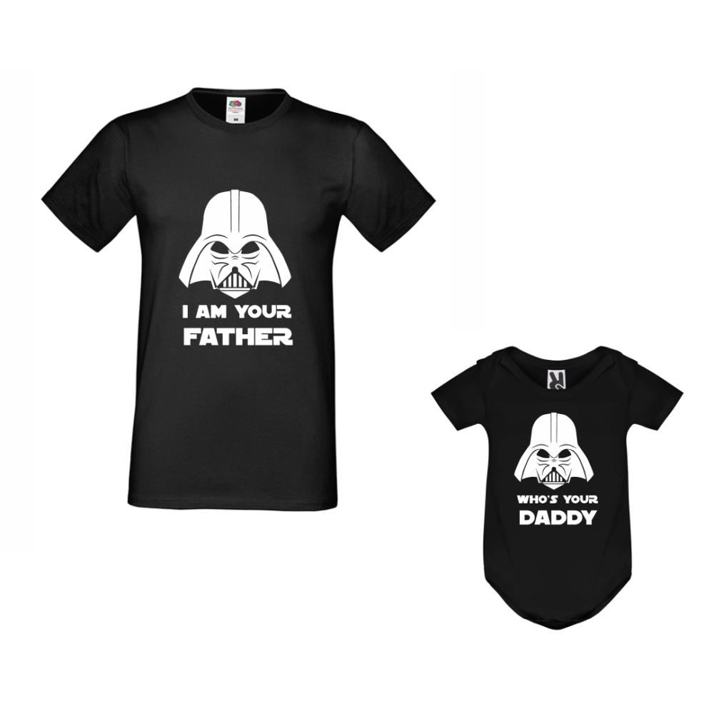 Set za oca i dijete u crnoj boji Who is your father