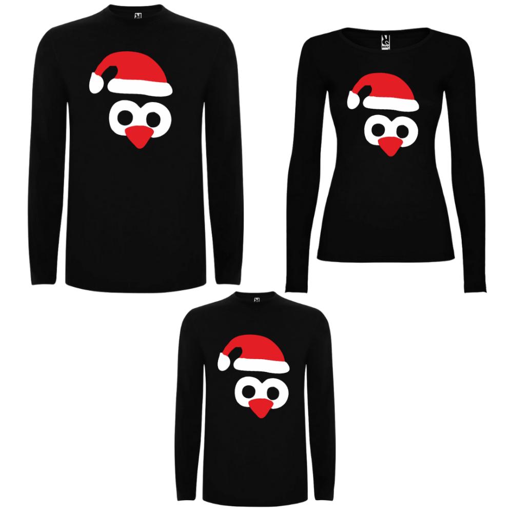 Obiteljski set majica dugih rukava u crnoj boji Penguin Hats