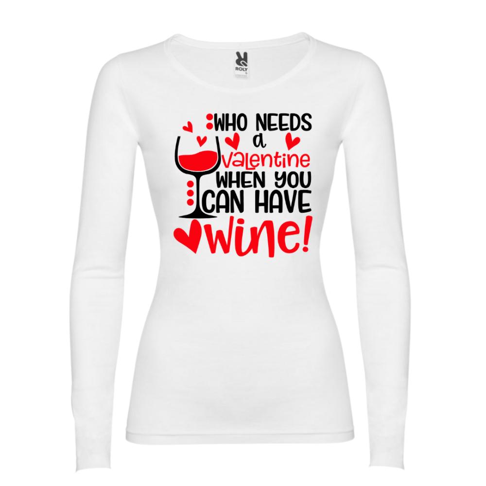 Majica dugih rukava u bijeloj boji Who needs Valentine