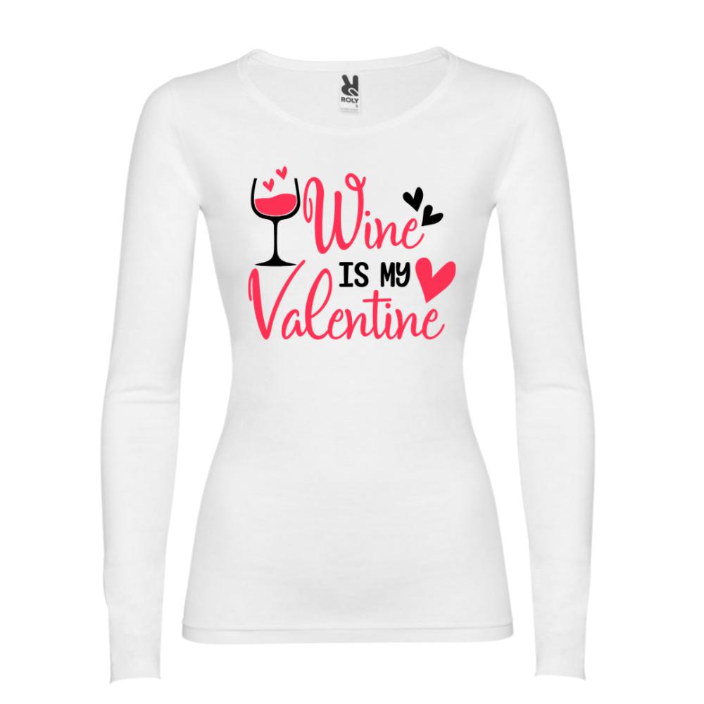 Majica dugih rukava u bijeloj boji Wine is my Valentine