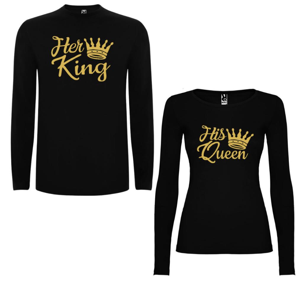 Obiteljske majice dugih rukava u crnoj boji Her King - His Queen