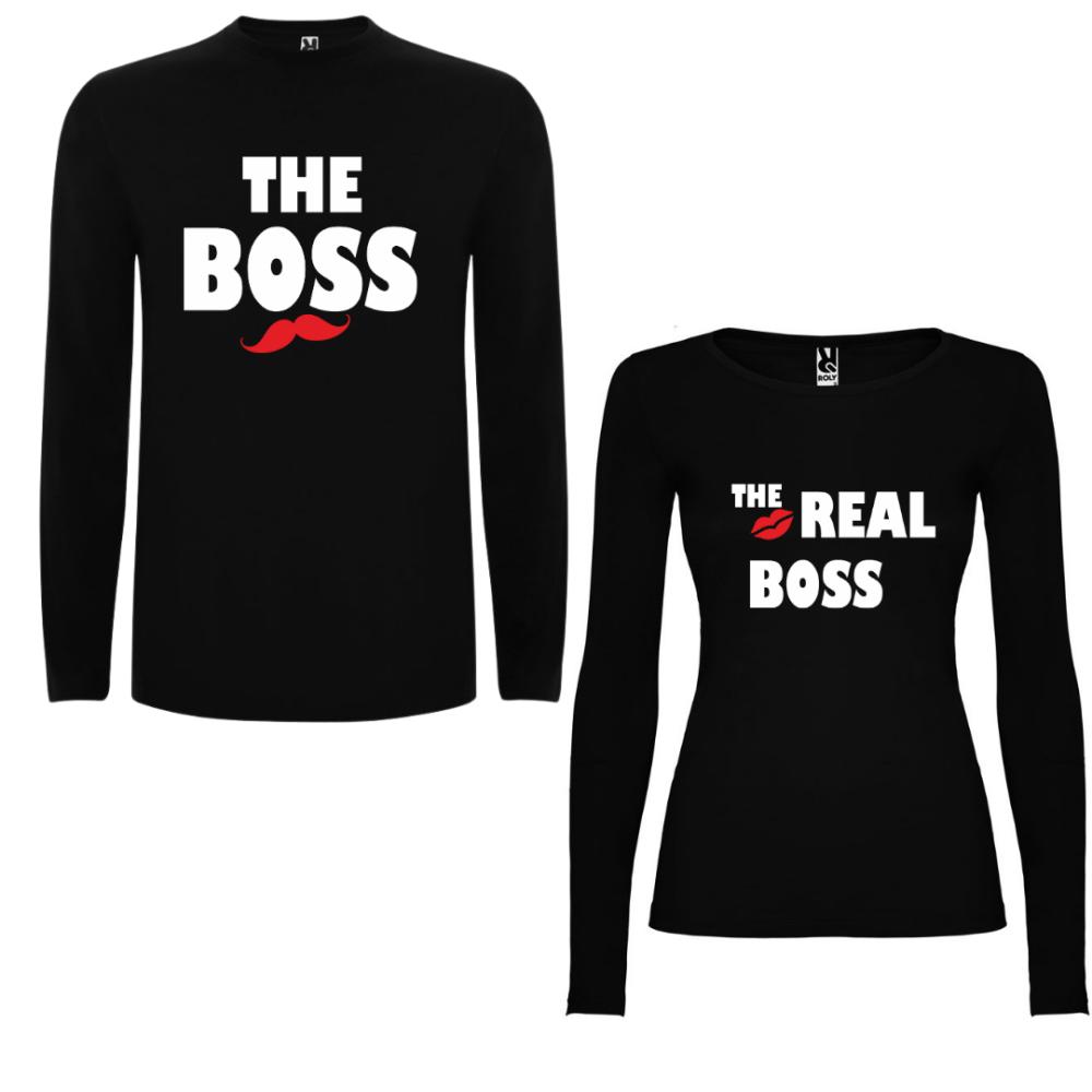 Obiteljske majice dugih rukava u crnoj boji The Boss - The Real Boss