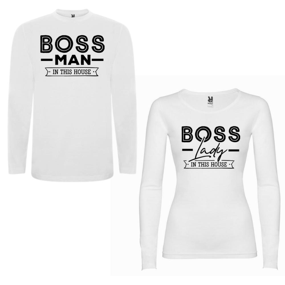 Obiteljski set majica dugih rukava u bijeloj boji Boss Man Boss Lady