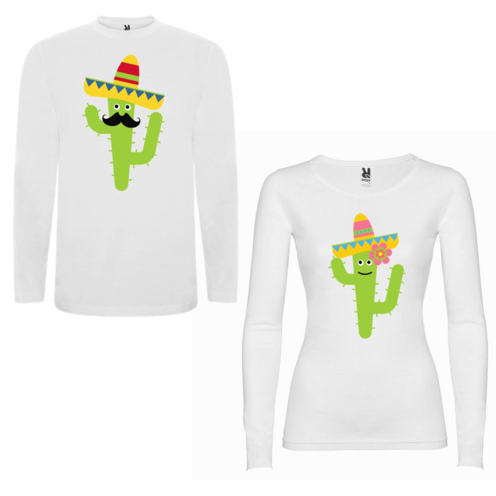 Obiteljski set majica dugih rukava u bijeloj boji Cactus Couple
