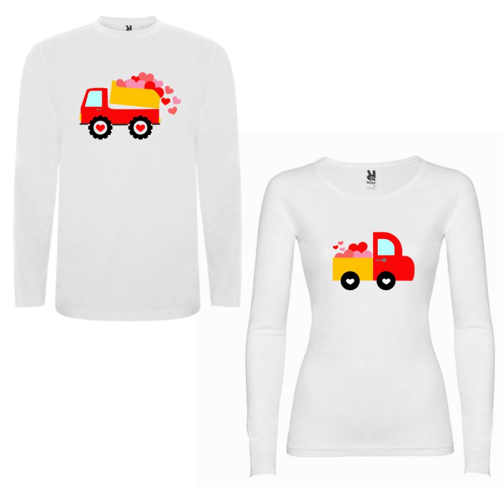 Obiteljski set majica dugih rukava u bijeloj boji Love Trucks