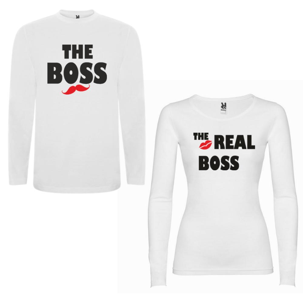 Obiteljski set majica dugih rukava u bijeloj boji The Boss - The Real Boss