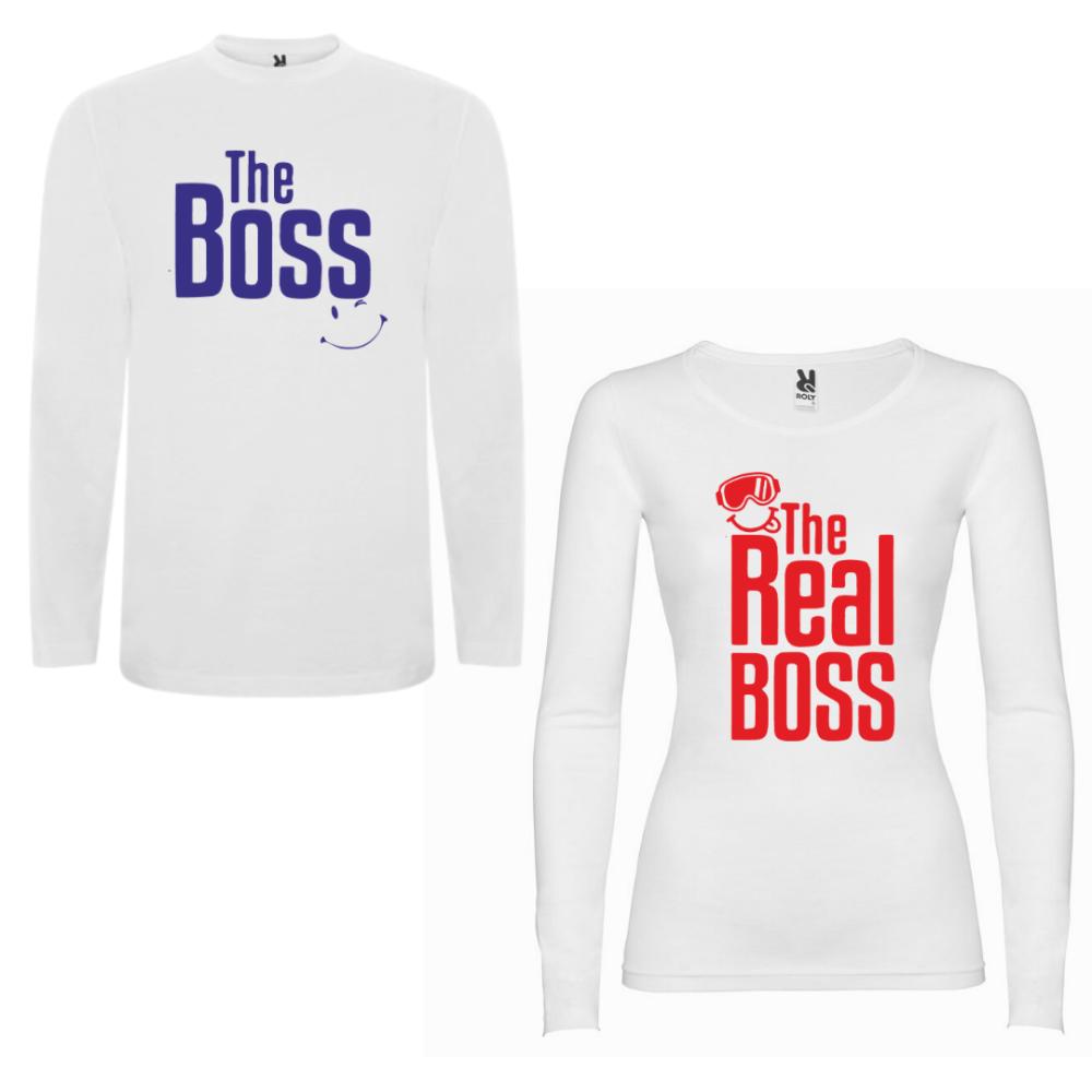 Obiteljski set majica dugih rukava u bijeloj boji The Boss - The Real Boss New