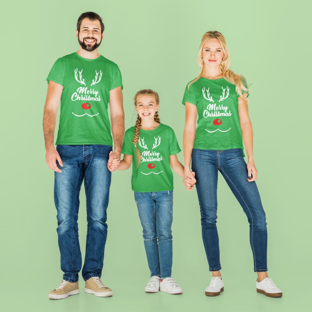 Božićni obiteljski set u zelenoj boji Merry Christmas