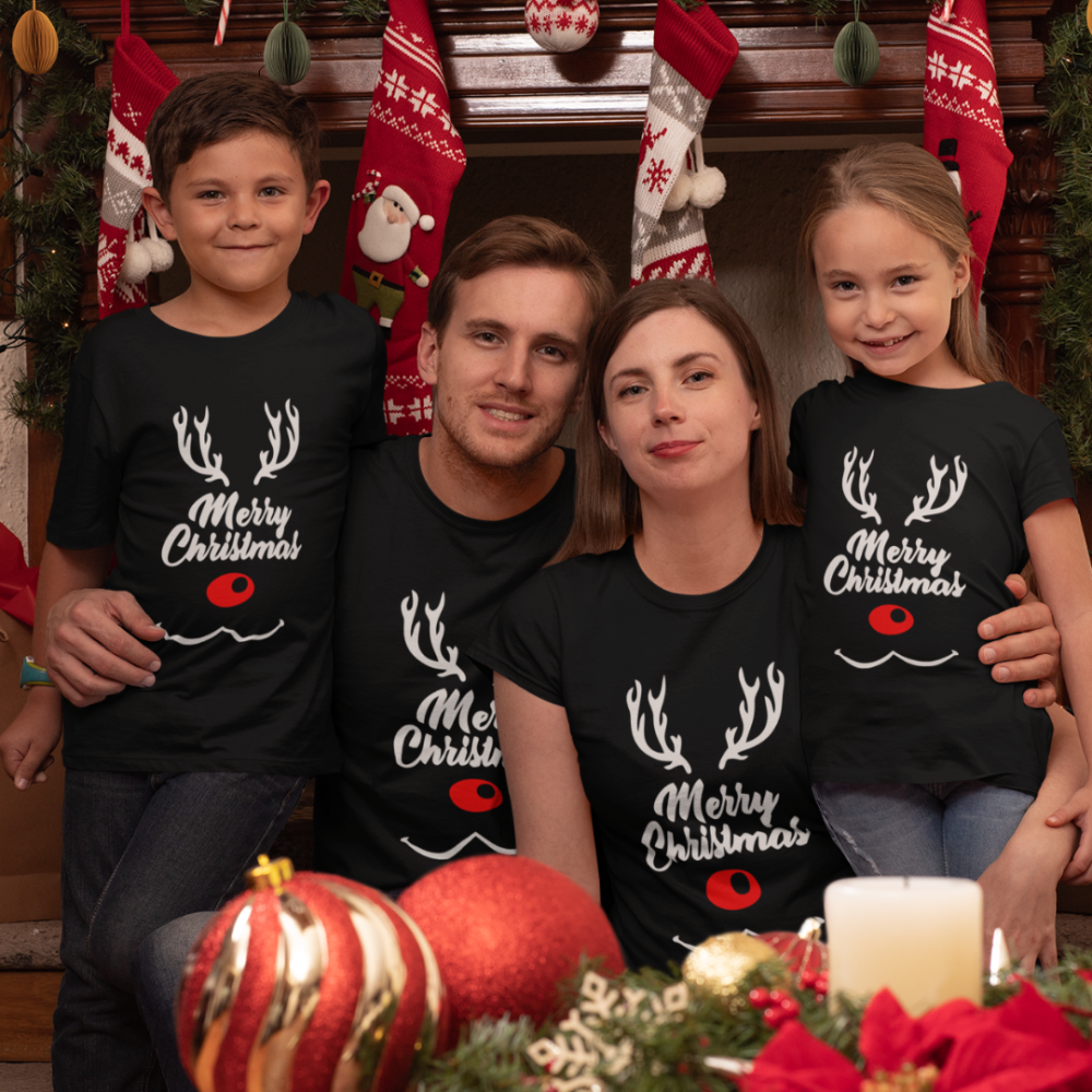 Božićni obiteljski set u crnoj boji Merry Deer