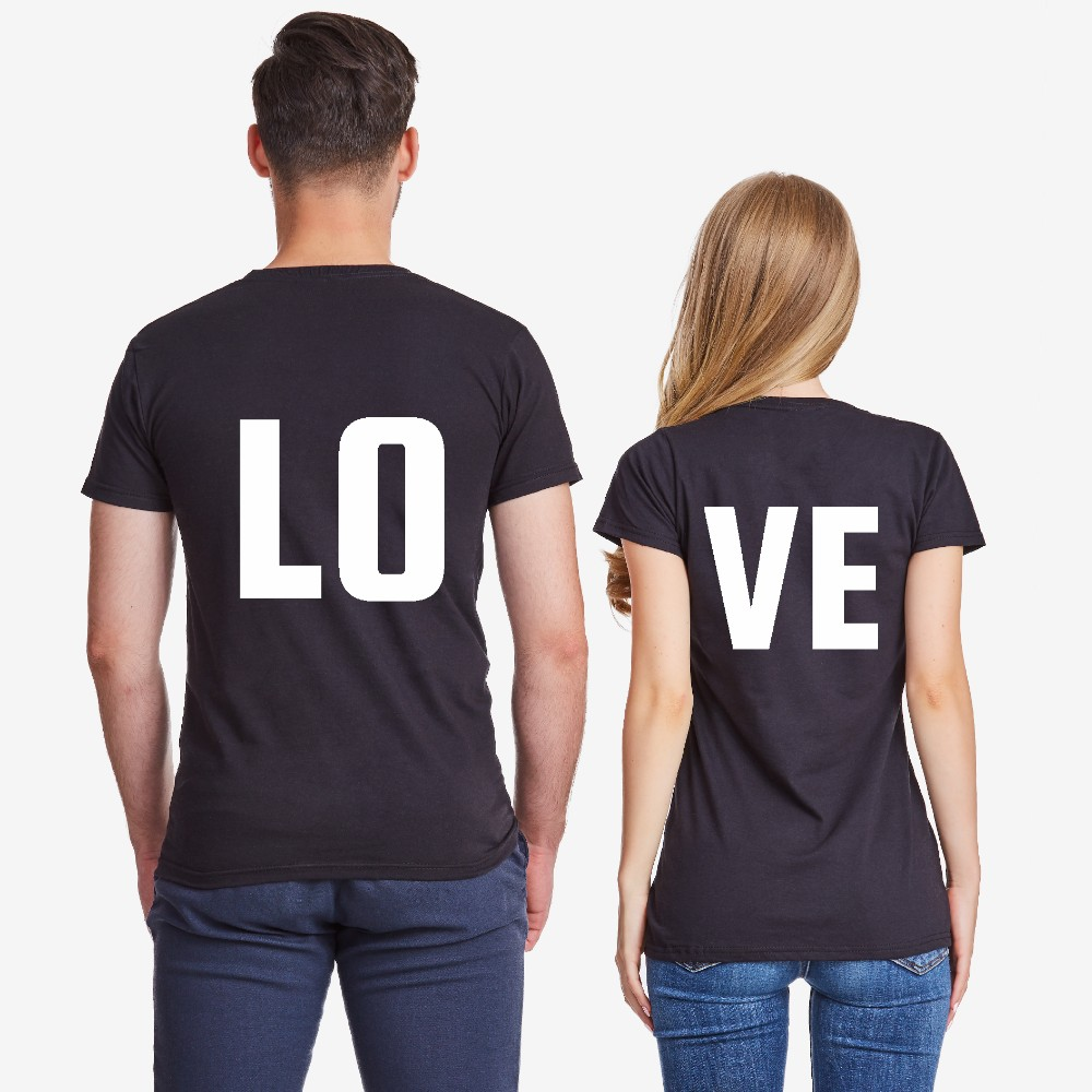 Majice za parove u crnoj boji LOVE
