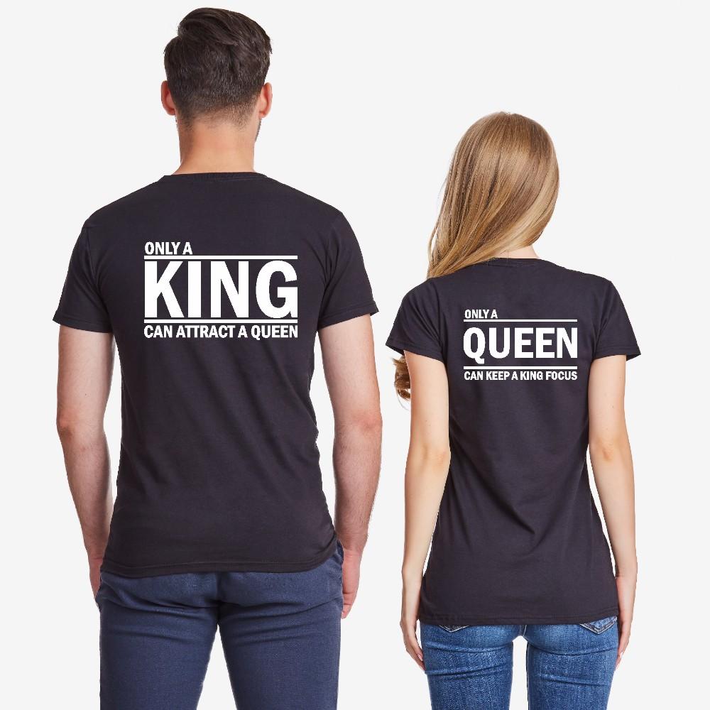 Majice za parove u crnoj boji ONLY KING