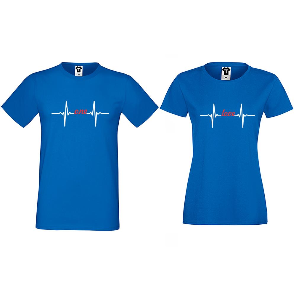 Majice za parove u plavoj boji One Love Heartbeat