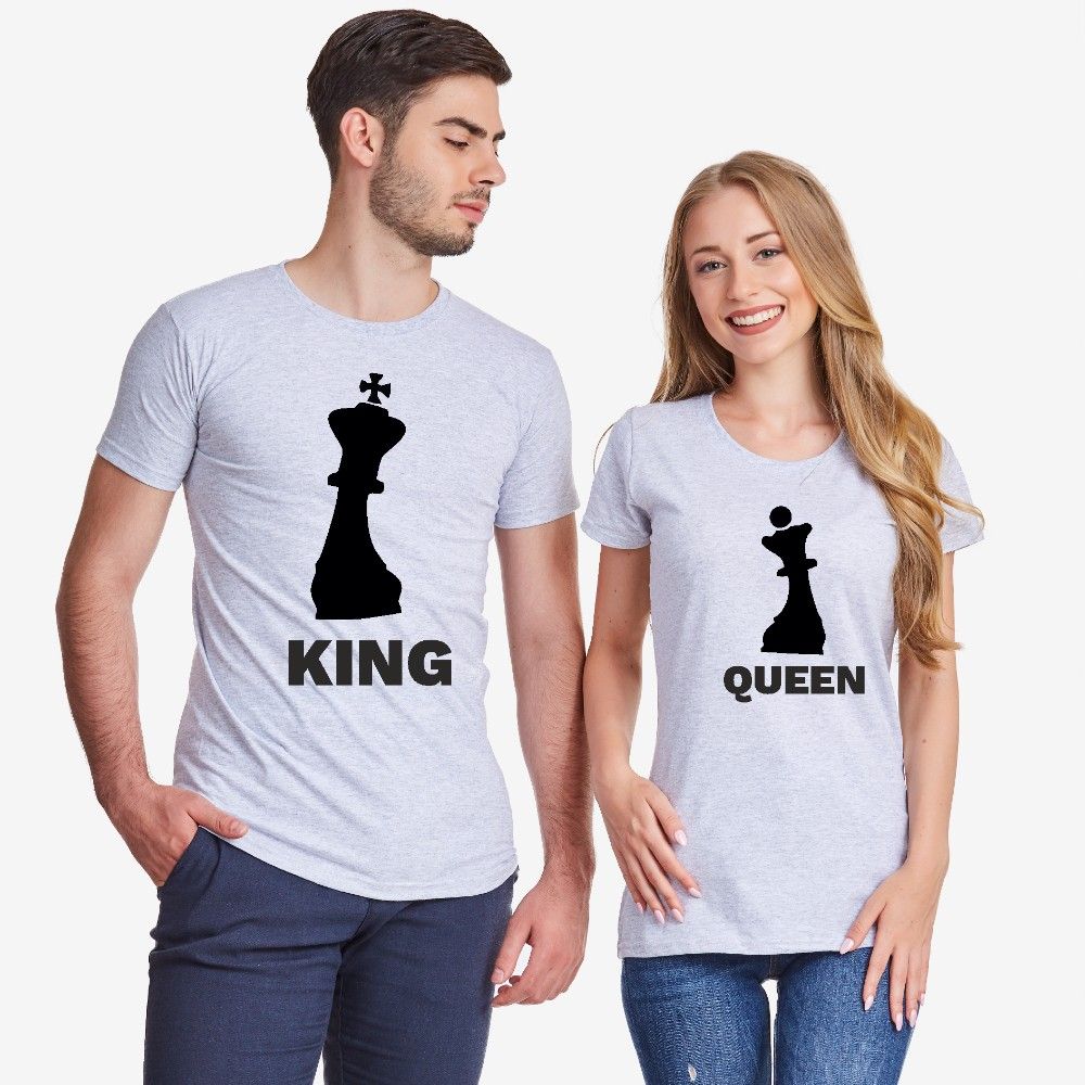 Majice za parove u sivoj boji KING QUEEN CHESS