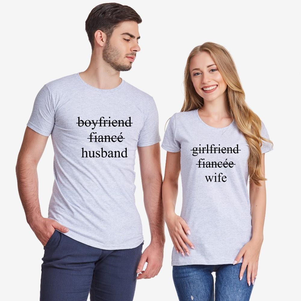Set crnih majica za parove Boyfriend/Fiancé/Husband and Girlfriend/Fiancée/Wife