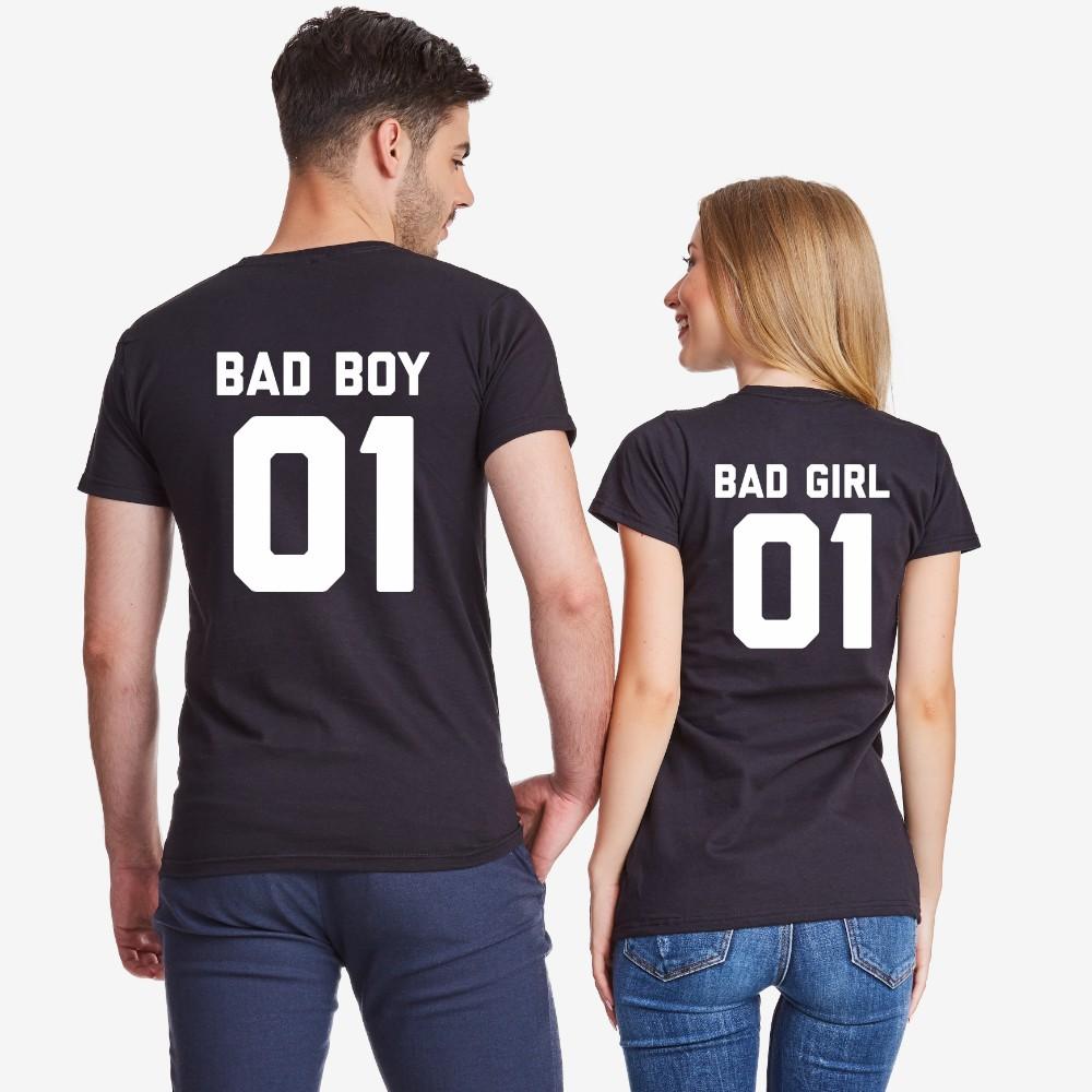 Set crnih majica za parove Bad Boy and Bad girl