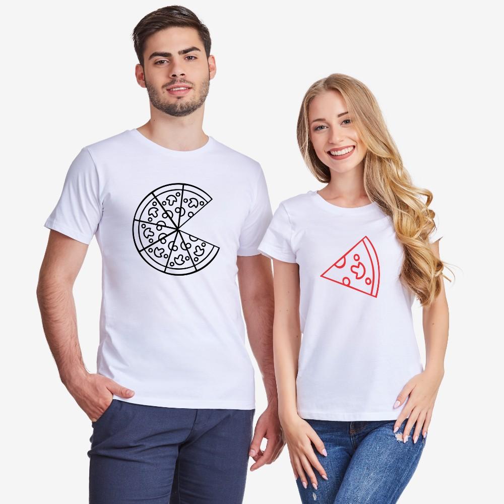 Majice za parove u bijeloj ili crnoj boji Pizza Couple