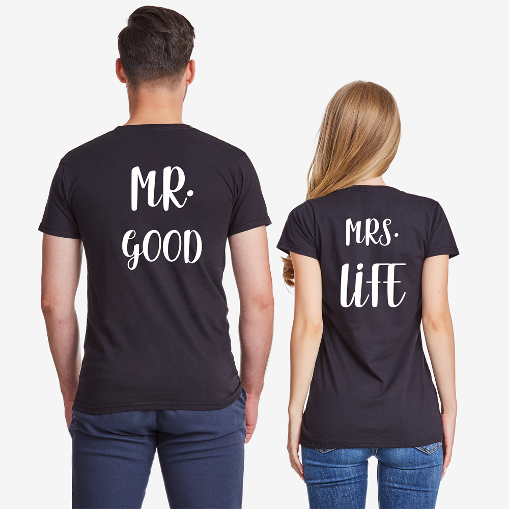Majice za parove u crnoj boji  Mr Mrs Good Life