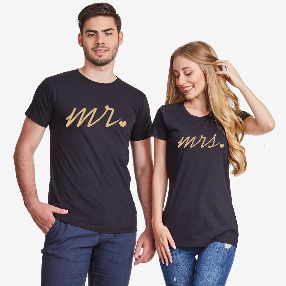 Set majica za parove u crnoj boji Mr and Mrs Gold