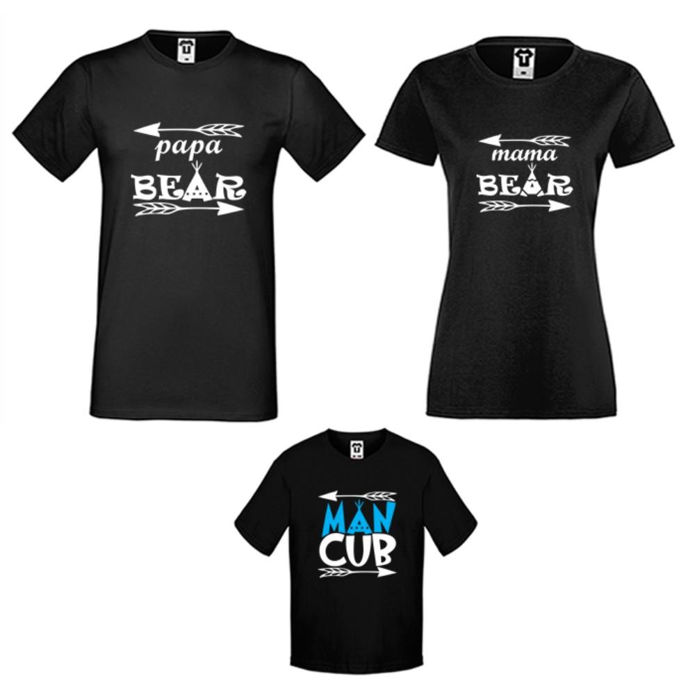 Obiteljske majice u bijeloj ili crnoj boji Bear Family