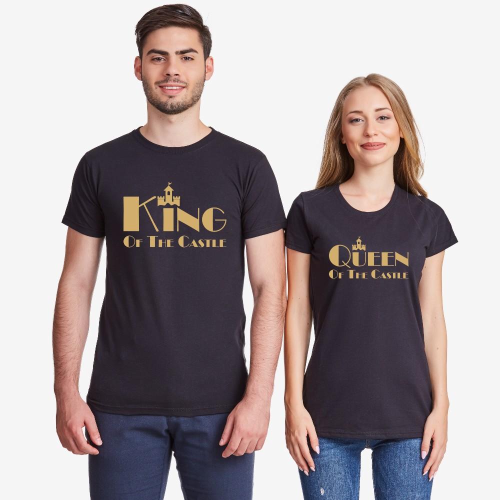 Majice za parove u bijeloj ili crnoj boji King and Queen of the castle