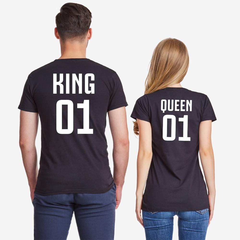 Majice za parove u crnoj ili bijeloj boji King 01 i Queen 01