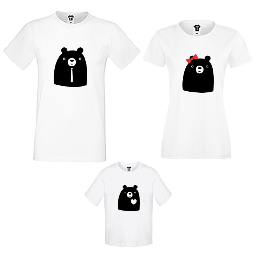 Obiteljske majice u bijeloj ili crnoj boji Big Bears