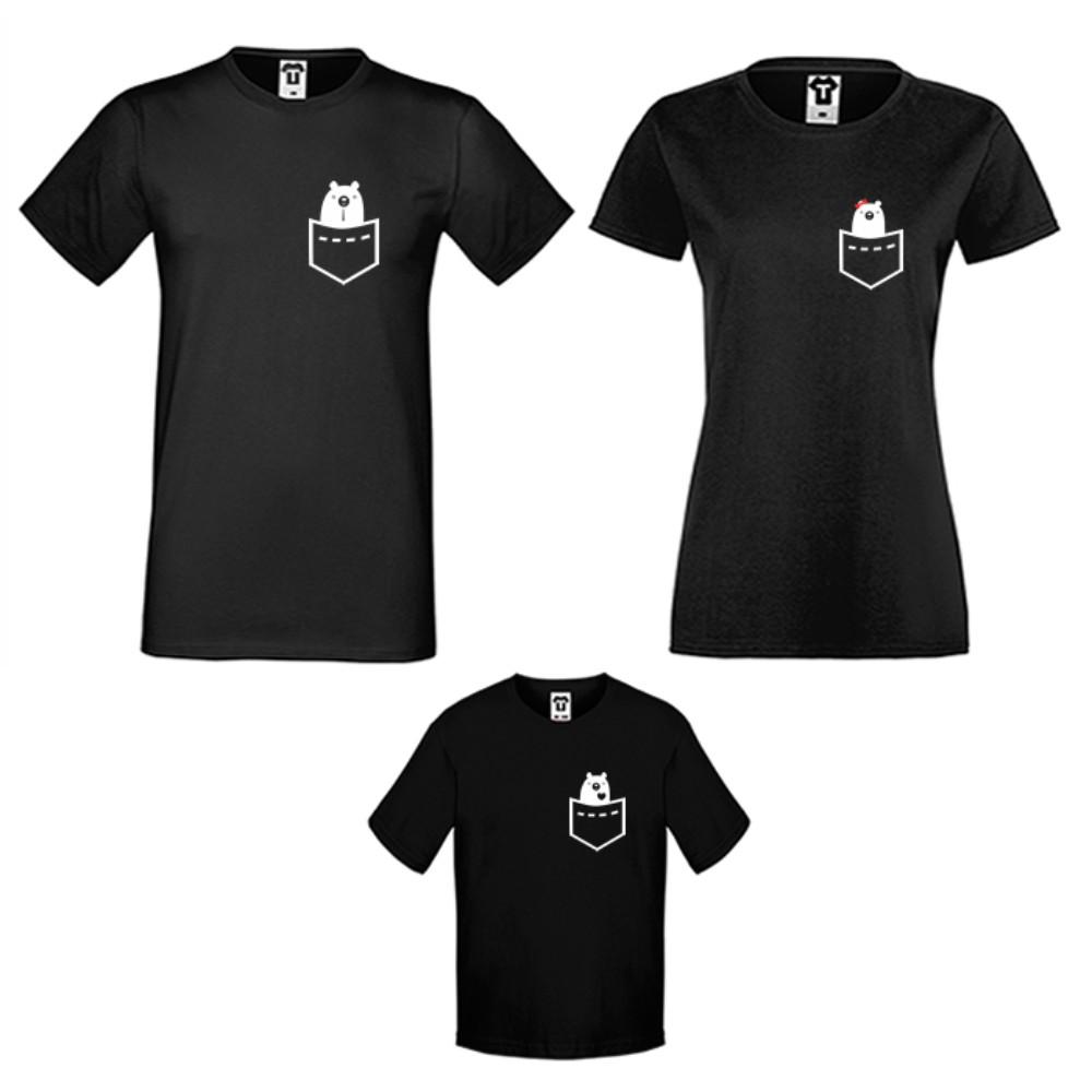 Obiteljske majice u bijeloj ili crnoj boji Pocket Bears