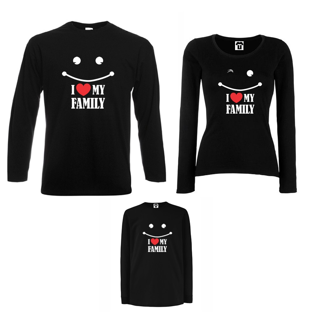 Obiteljski set majica dugih rukava u crnoj ili bijeloj boji I love my family